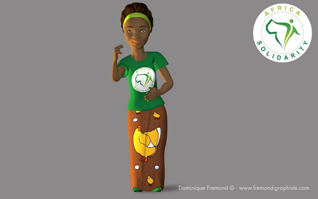 """""""Fatou"""" mascotte 3D animée"""