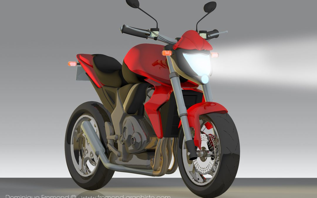 3D model of a motorcycle