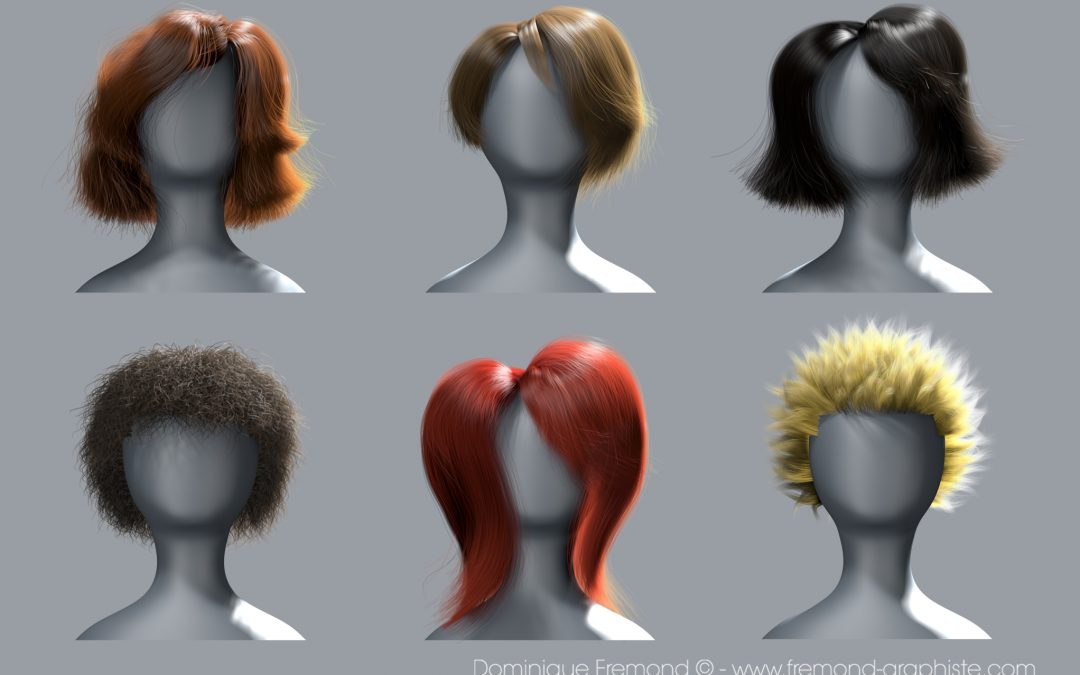 3D modeling of different female hair