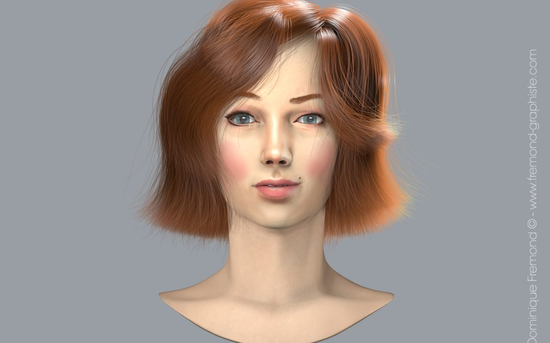 3D modeling and animation – Portrait of a young red-haired woman.