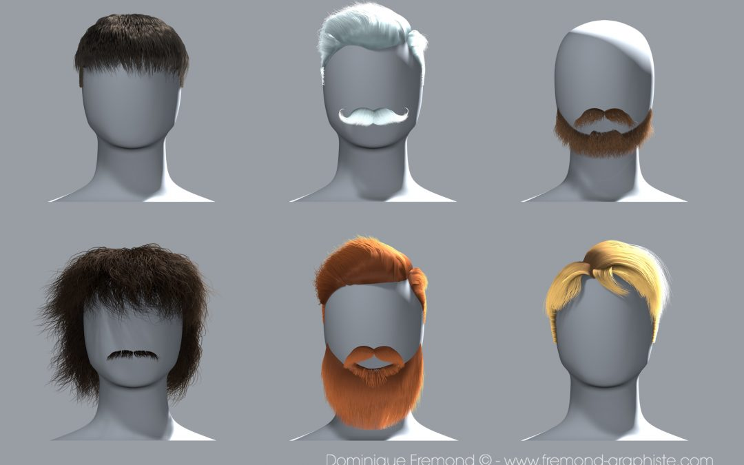3D modeling of different hair and beards for men.